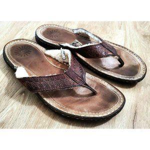 Ugg Mens 1704 Line Brown Thong Sandals Size 11